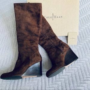 Cole Haan Cora brown suede wedge boots, size 6